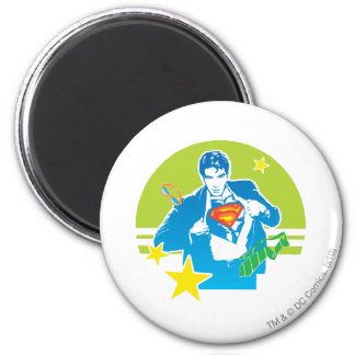 Superman 80's Style 6 Cm Round Magnet