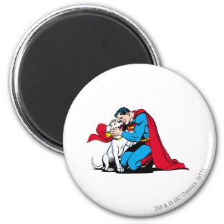 Superman and Krypto 6 Cm Round Magnet
