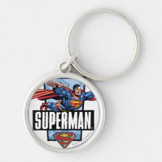 Superman and Logo Bordered Key Ring