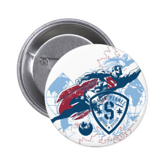 Superman and Map 6 Cm Round Badge