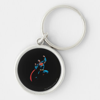 Superman Arms Raised Silver-Colored Round Key Ring