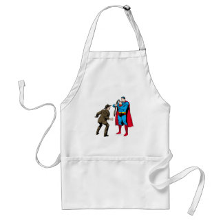 Superman bends a gun adult apron