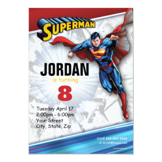 Superman Birthday 13 Cm X 18 Cm Invitation Card