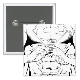 Superman Black and White 3 15 Cm Square Badge