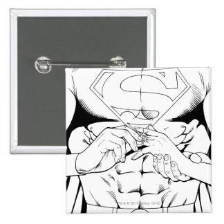 Superman Black and White 3 15 Cm Square Badge