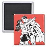 Superman Black and White 4 Square Magnet