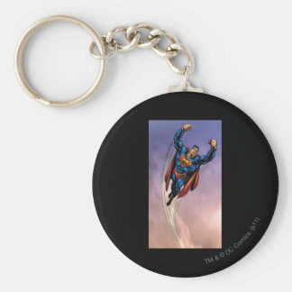 Superman both arms raised basic round button key ring
