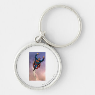 Superman both arms raised Silver-Colored round key ring