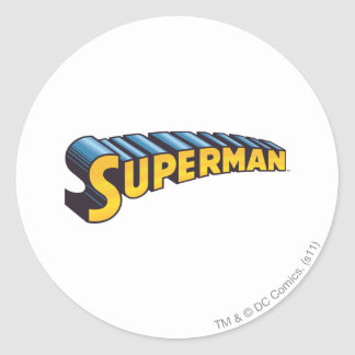 Superman | Classic Name Logo Classic Round Sticker