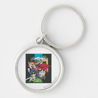Superman Comic Black Silver-Colored Round Key Ring