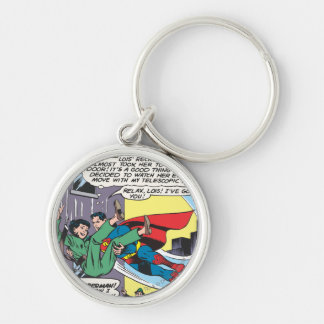 Superman Comic Panel - Lois An Instant Later Silver-Colored Round Key Ring