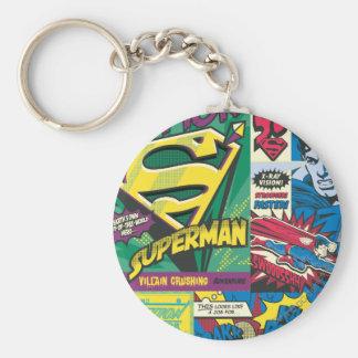 Superman Comic Panels Basic Round Button Key Ring