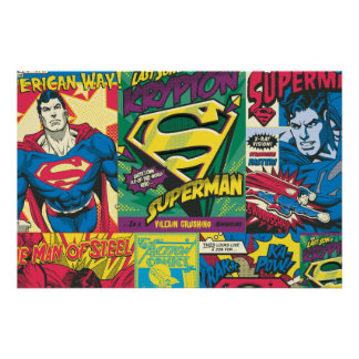 Superman Comic Panels Poster
