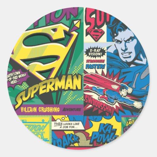Superman Comic Panels Round Sticker