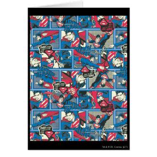 Superman Comic Pattern Greeting Card