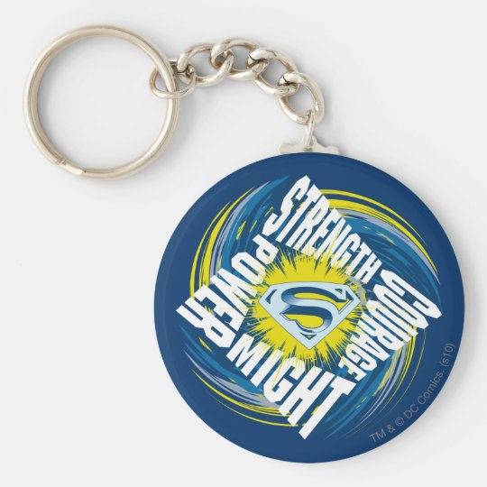 Superman Courage Strength Might Power Basic Round Button Key Ring