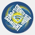 Superman Courage Strength Might Power Round Sticker