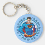 Superman Courage Strength Power Basic Round Button Key Ring