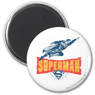 Superman distressed 6 cm round magnet