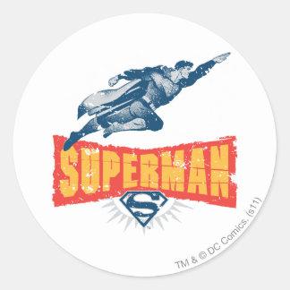 Superman distressed classic round sticker