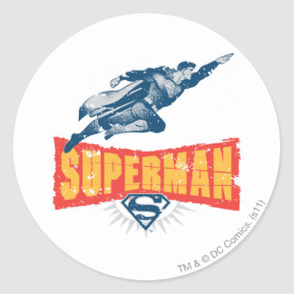 Superman distressed round stickers