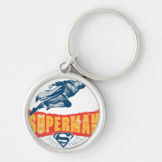 Superman distressed Silver-Colored round key ring