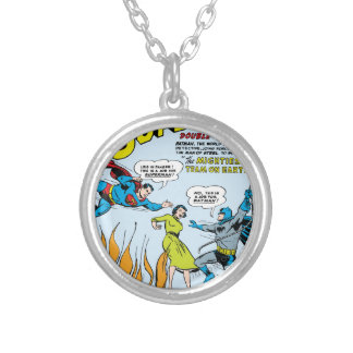 Superman (Double-Feature with Batman) Silver Plated Necklace