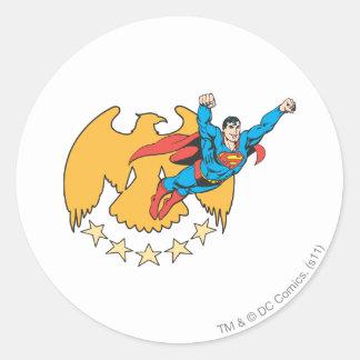 Superman & Eagle Classic Round Sticker