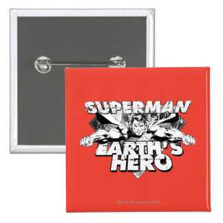 Superman Earth's Hero 15 Cm Square Badge