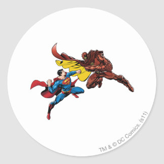 Superman Fights Classic Round Sticker