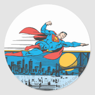 Superman Flies Across Town Classic Round Sticker