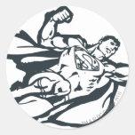 Superman Flies Right Round Stickers