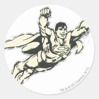 Superman Flying Grunge 2 Classic Round Sticker