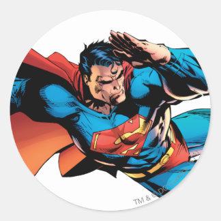 Superman Flying Kick Round Sticker
