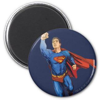 Superman Flying Left 6 Cm Round Magnet