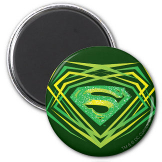 Superman Green Decorative Logo 6 Cm Round Magnet