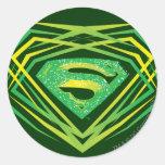 Superman Green Decorative Logo Classic Round Sticker