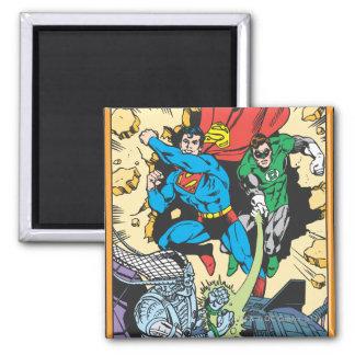 Superman & Green Lantern Fight Brainiac Square Magnet