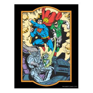 Superman & Green Lantern Fight Brainiac Postcard