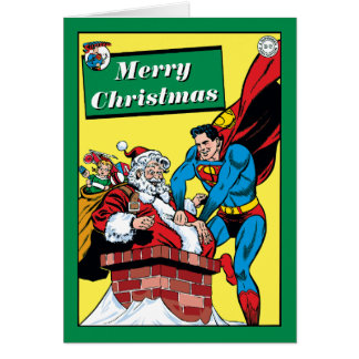 Superman Helping Santa Claus Down The Chimney Greeting Card