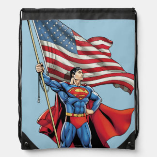 Superman Holding US Flag Drawstring Bag