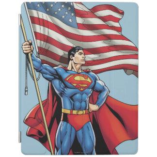 Superman Holding US Flag iPad Cover