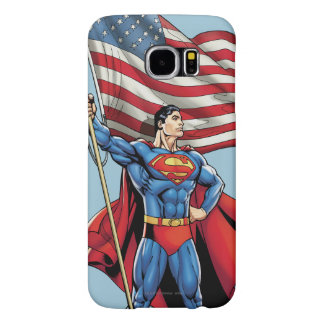 Superman Holding US Flag Samsung Galaxy S6 Cases