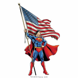 Superman Holding US Flag Standing Photo Sculpture