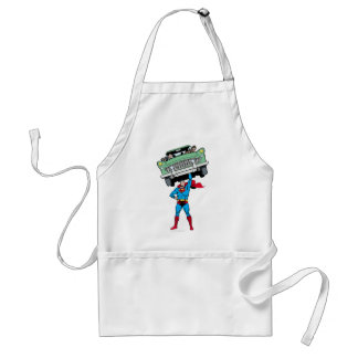 Superman holds a car standard apron