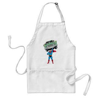 Superman holds a car standard apron