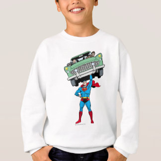 Superman holds a car sweatshirt