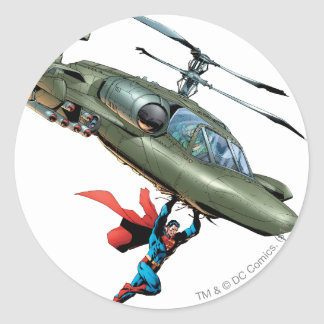 Superman holds helicopter classic round sticker