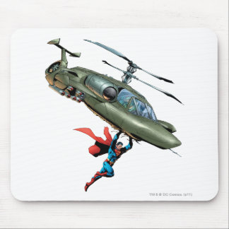 Superman holds helicopter mouse mat