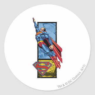 Superman jumps up with logo classic round sticker